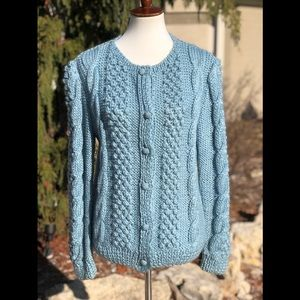 Vintage hand knitted soft cable cardigan sweater L